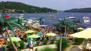 View of Lake of the Ozarks from a popular waterfront pool destination.
