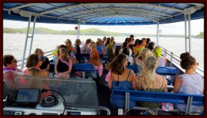 A group headed out on one of Playin Hooky's boats, cruising to some of the best Lake of the Ozarks bars.